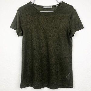 VINCE | Green Linen Short Sleeve Tee